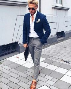 Resultado de imagen para blue shirt with grey trousers