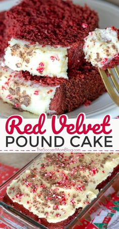 One of our most popular recipes ever! Gorgeous and delicious red velvet pound cake with cream cheese icing and chocolate shavings! #desserts #recipes #redvelvet #poundcake #bread #holidayrecipes #creamcheesefrosting
