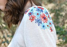 Flower Embroidered Shoulders on Sweater