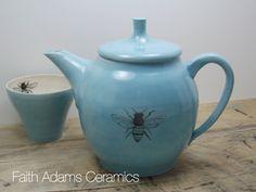 Honey Bee Teapot Porcelain Turquoise Blue by FaithAdamsCeramics