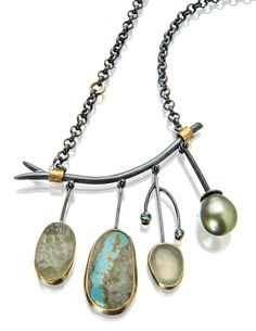 Meadow necklace: beryl surface, Persian turquoise, prehnite, pistachio Tahitian pearl. www.sydneylynch.com