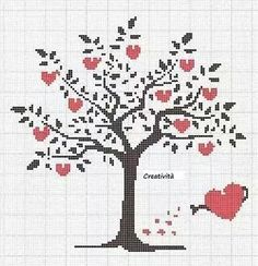 39 ideas embroidery christmas tree pattern cross stitch for 2020 Small Cross Stitch, Cross Stitch Tree, Cross Stitch Heart, Wedding Cross Stitch Patterns, Modern Cross Stitch Patterns, Cross Stitch Designs, Cross Stitch Flowers Pattern, Cross Stitching, Cross Stitch Embroidery