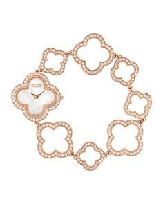 Vintage Alhambra Pink Gold Bracelet Watch, Women's - Van Cleef & Arpels