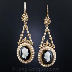 Victorian Hardstone Cameo Drop Earrings