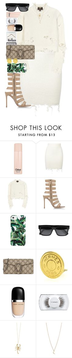 """""""Most people are other people. Their thoughts are someone else's opinions, their lives a mimicry, their passions a quotation."""" by quiche ❤ liked on Polyvore featuring Chloé, adidas Originals, Gianvito Rossi, Milly, CÉLINE, Gucci, Hermès, Marc Jacobs, MAC Cosmetics and Jennifer Fisher"""