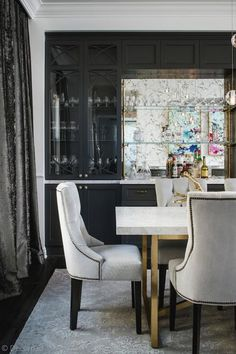 Brass and Marble Dining Table with Light Gray Velvet Tufted Chairs - Contemporary - Dining Room Hot Pink Room, Latest Kitchen Trends, Monochromatic Room, Kitchen Cabinet Styles, Interior S, Bars For Home, Interiores Design, Studio, Home Decor