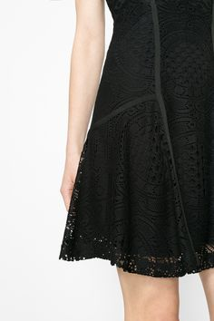 This little black dress has an A-Line cut and lace details. Brighten it up with some colorful accessories or keep it sophisticated and simple as it is - it will look great either way!