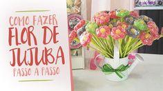 Aprenda como fazer Flor de Jujuba, passo a passo em vídeo ensinando a fazer essa linda e deliciosa lembrancinha de festa infantil!