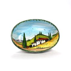 A gorgeous hand painted bowl of the Tuscan countryside. Find it and many other hand painted pottery at www.tuscanhills.com