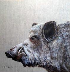 2016 40x40 sanglier (2) Wildlife Paintings, Wildlife Art, Hog Dog, Boar Hunting, Hunting Tattoos, Beast Creature, Wild Boar, Dog Eyes, Horse Sculpture