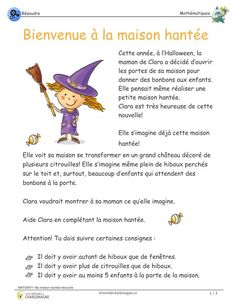 My Haunted House - Solving - Treasures of Charlemagne Maths Halloween, Halloween Art Projects, Scary Halloween Decorations, Halloween Crafts For Kids, Halloween Activities, French Teaching Resources, Teaching French, Teacher Resources, French Language Lessons