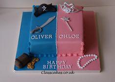 Pirate and Princess split cake Twin Birthday Cakes, Twin First Birthday, Happy Birthday, Cake Kids, Cakes For Boys, Fondant Cake Designs, Twins Cake, Celebration Cakes, Princess Party