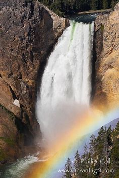 A rainbow appears in the mist of the Lower Falls of the Yellowstone River. At 308 feet, the Lower Falls of the Yellowstone River is the tallest fall in the park.