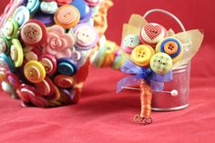 Rainbow Button Boutonniere by BouquetsofWhimsy on Etsy