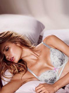 Romee Strijd wear Lace bra in Victoria's Secret lingerie catalogue 2015 Photoshoot