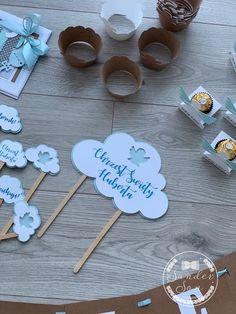 Dekoracje na Chrzest synka! - SanderSon Desserts, Handmade, Tailgate Desserts, Deserts, Hand Made, Postres, Dessert, Plated Desserts, Handarbeit