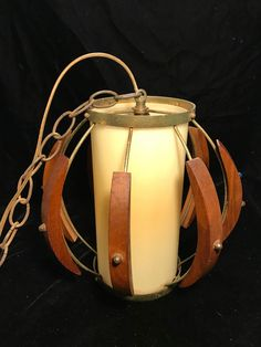 Vintage 50s 60s Danish Mid Century Modern Swag Globe Lamp Teak Light