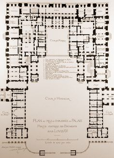 A map of the centre piece of the palace of Versailles. Ground floor.