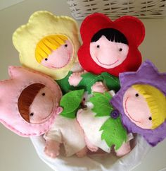 Felt Flower Girls dolls by HomeMadebyArtemi on Etsy, Flower Girls, Felt Flowers, Felt Crafts, Girl Dolls, Playroom, Quilts, Christmas Ornaments, Holiday Decor, Unique Jewelry