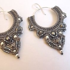 Macrame Earrings Shades of Gray Silver and Pyrite by neferknots, $80.00