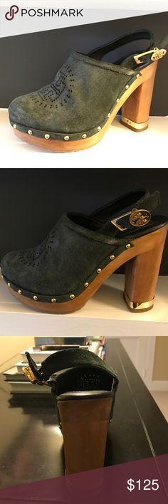 Black wooden heel Tory Burch clogs Black suede wooden heel Tory Burch clogs- run a bit small but very cute! Tory Burch Shoes Mules & Clogs