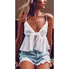 Women White Knotted Spaghetti Straps Sexy Chiffon Camisole - S - ☉Summer Fashion Cute Summer Outfits, Cute Casual Outfits, Spring Outfits, Cute Summer Tops, Summer Clothes, Summer Tank Tops, Casual Chic, Holiday Clothes, Spring Tops