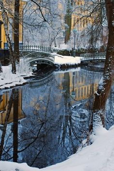 Snowy Bridges in Amsterdam, The Netherlands.