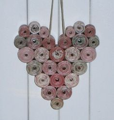 Recycled Paper Heart Shades of Red and Pink by BlueTangDesigns