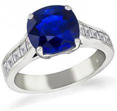 Cushion Cut Sapphire Carre Cut Diamond Platinum Engagement Ring