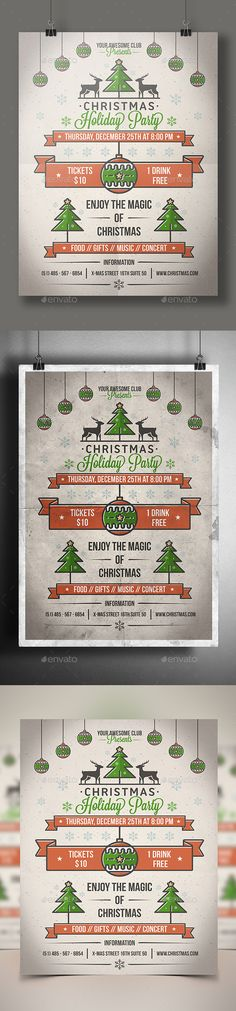 Christmas Party Poster Flyer Template PSD #design #xmas Download: http://graphicriver.net/item/christmas-party-poster-flyer/9693492?ref=ksioks