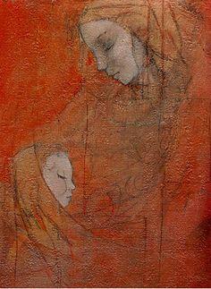"Galleria scorrevole.                                         Sergio Cerchi, italian painter (Firenze), ""Madonna"", oil on canvas."