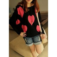 Loose Fitting Heart Printed Dolman Sleeve Sweater for Women