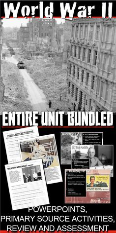 World War Two II Unit Bundle Includes WWII PowerPoints with video links, primary source readings, maps, and a poster project all bound together with daily lesson plans. Each lesson begins with a warm-up, and continues with PowerPoint notes, primary source document reading or map activity and a Exit Ticket. Unit also includes editable assessment-test/quiz, a writing exercise and crossword puzzle review. WWII PowerPoint notes include lecture notes to guide you through the presentation. I have…