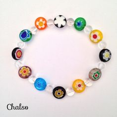 Millefiori and clear crystal quartz stretch bracelet by Chalso