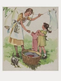 vintage Wash Day, laundry on the line Illustrations Vintage, Illustration Art, Vintage Pictures, Vintage Images, Vintage Housewife, Vintage Laundry, Vintage Cards, 50s Vintage, Vintage Children