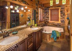 Custom log home bathroom