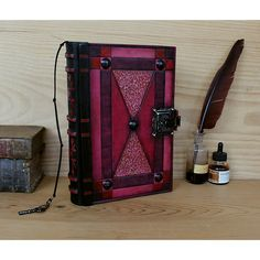 """Leather Journal with Lock and Key, Red Leather """"Blazing Dreams"""" (€350) ❤ liked on Polyvore featuring home, home decor and stationery"""