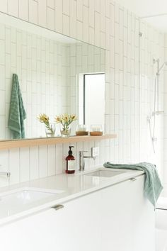 Great bathroom mirror with shelf. Modern beach house - desire to inspire - desiretoinspire.net