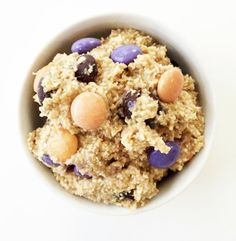 This safe-to-eat cookie dough only has 80 calories per serving and it is made without eggs and flour. Get the recipe from The Skinny Fork.