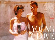 """Young Love.    """"It was a very spasmodic courtship, conducted mainly at long distance with a great clanking of coins in dozens of phone booths."""" -- quoted in The Fitzgeralds and the Kennedys (1987) by Doris Kearns Goodwin."""