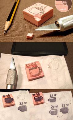 DIY Encore des tampons. (Se ha de prestar mucha atención al corte e ir poco a poco perfilando los detalles) (http://www.cocolacoquette.com/diy-haciendo-nuestros-propios-sellos-de-goma-carving-rubber-stamps/)