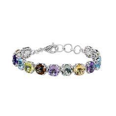 Samuel B. Multi-Gemstone Bracelet in Sterling Silver Jewelry Shop, Jewelry Design, Green Quartz, Colorful Bracelets, Gemstone Bracelets, Schmuck Design, Smoky Quartz, Blue Topaz, Amethyst