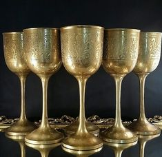 Set Of 6 Brass Wine Goblets Chalice Embossed by OldGLoriEstateSale Drunk Friends, Wine Goblets, Emboss, Solid Brass, Antique Brass, Wine Glass, Glasses, Antiques, Tableware