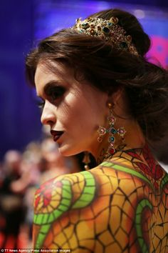 A model walks on the podium during the OMC Hairworld World Cup 3D World of Art contest wit...