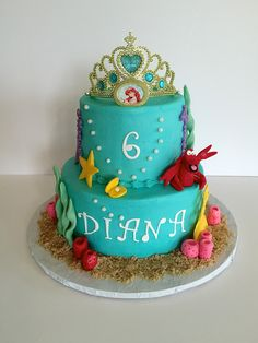 Little Mermaid themed cake - modeling chocolate lobster and sea shells
