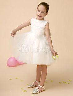 Princess Ivory A-line Jewel Neck Knee-Length Flower Girl Dress - Milanoo.com