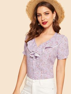 To find out about the Lace Trim Botanical Print Ruffle Shirt at SHEIN, part of our latest Blouses ready to shop online today! Ruffle Shirt, Ruffle Top, Trench Dress, Purple Fashion, Blouse Styles, Blouse Designs, Ditsy Floral, Summer Shirts, Types Of Sleeves