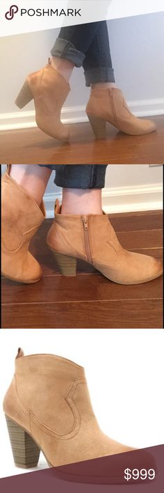 "Toffee/camel booties with side zip ☕️ These are so cute and trendy this fall! Great toffee colored booties with a zip up side and approximately 3"" heel. Perfect with leggings or cropped pants! They are faux leather with a cute ""slightly distressed"" look, and fit true to size. Get them while they last! Price firm unless bundled to be fair to all buyers. 5 ratings! Shoes Ankle Boots & Booties"