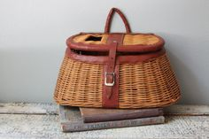 Vintage Fishing Creel Basket by JoliesCutesies on Etsy, $60.00