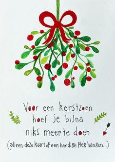 Leuke CliniClowns kerstkaart mistletoe, verkrijgbaar bij #kaartje2go voor €1,89
